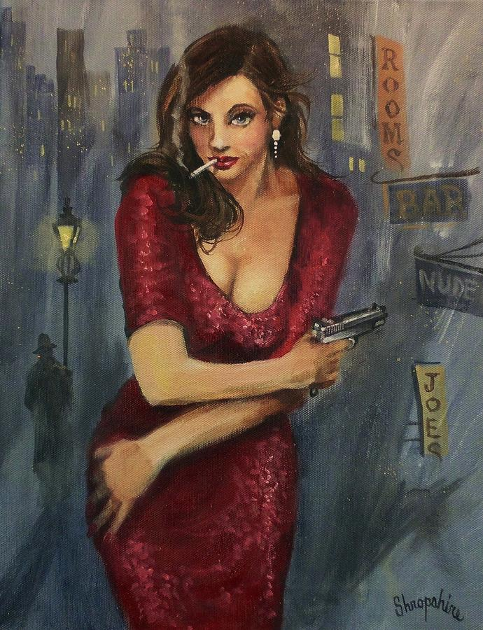 City At Night Painting - Bad Girl by Tom Shropshire