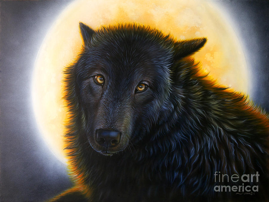 Black Wolf Painting - Bad Girls Have Halos Too by Sandi Baker