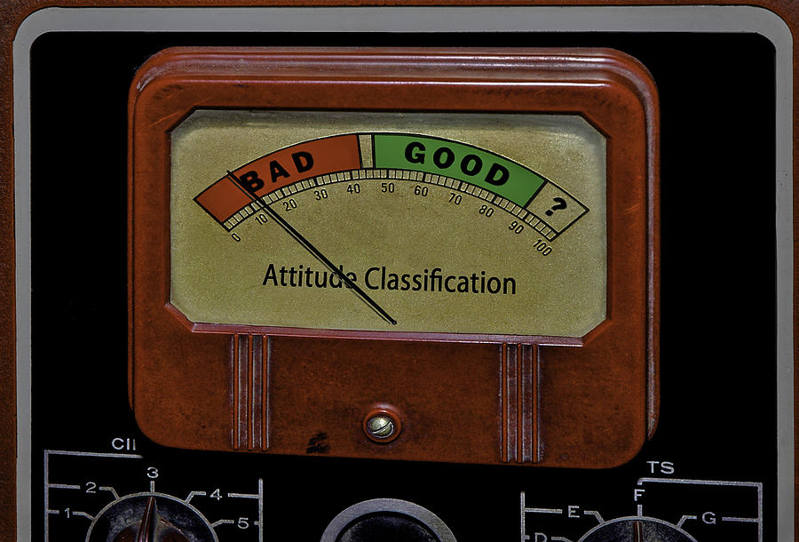 Rudeness Photograph - Bad Good Attitude Classification Meter by Phil Cardamone