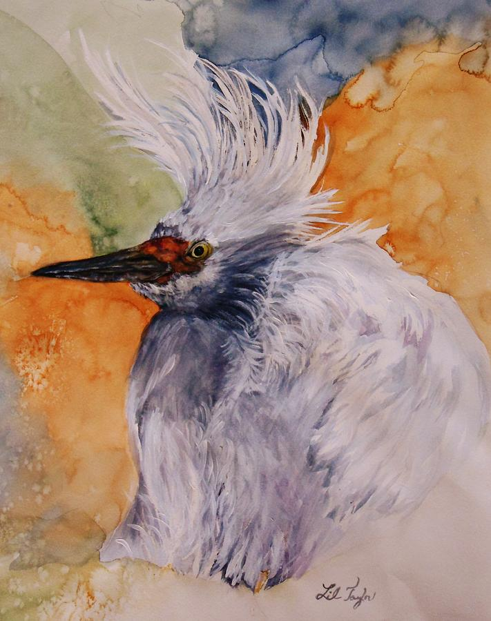 Heron Painting - Bad Hair Day by Lil Taylor