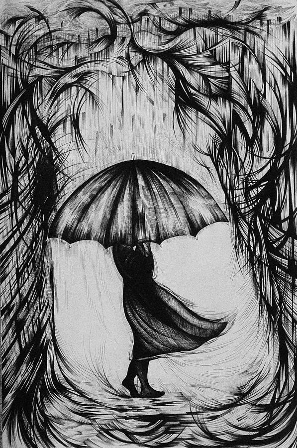 Pen And Ink Drawing - Bad Mood II by Anna  Duyunova