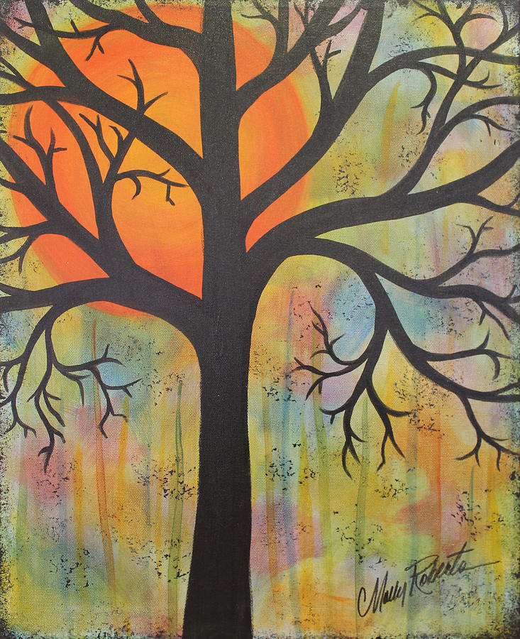 Orange Painting - Bad Moon Rising by Molly Roberts