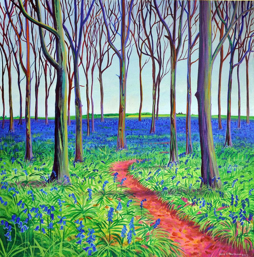 Bluebells Painting - Badbury bluebells by Jane Tomlinson