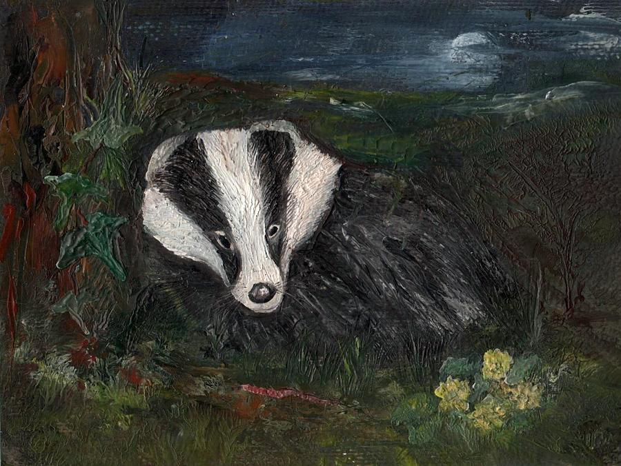 Wildlife Painting - Badger by Carol Rowland