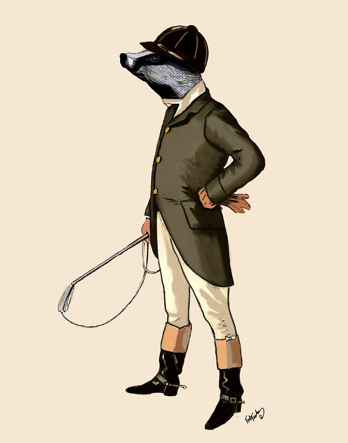Uniform Prints Digital Art - Badger The Rider Full by Kelly McLaughlan