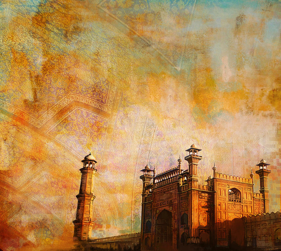 Pakistan Painting - Badshahi Mosque by Catf
