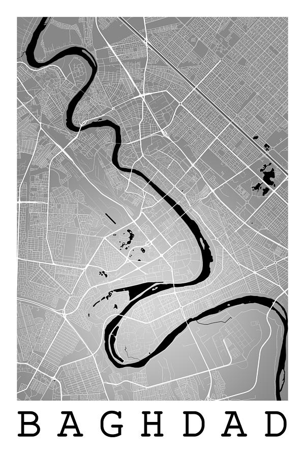 road map digital art baghdad street map baghdad iraq road map art on color