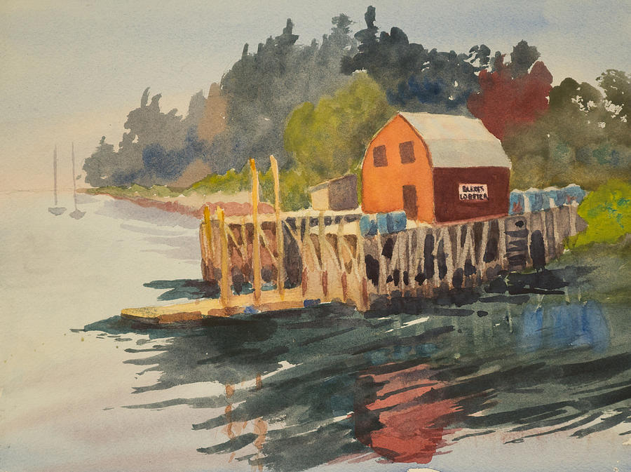 Watercolor Painting - Bailey Island by Peggy Poppe