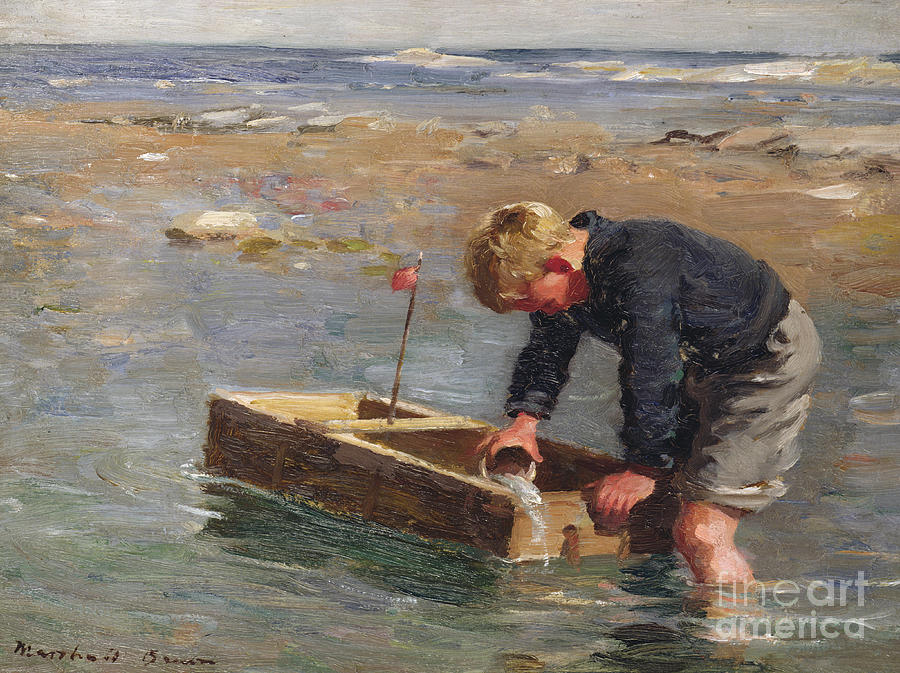 Signed Painting - Bailing Out The Boat by William Marshall Brown