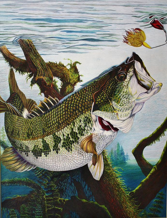 Fishing Drawing - Baiting The Big One by Bruce Bley