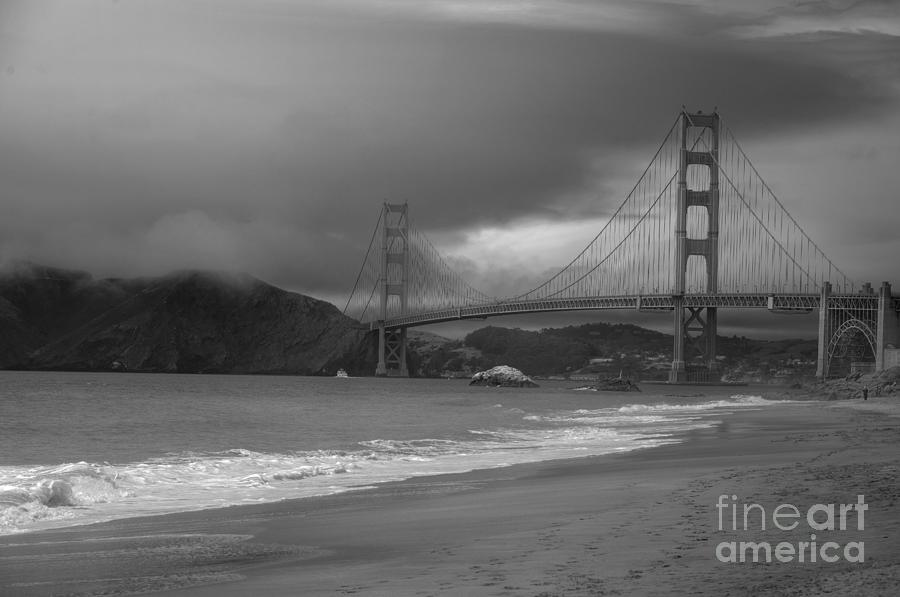 Black And White Photograph - Baker Beach View by David Bearden