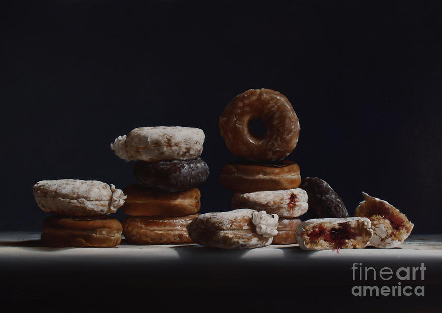 Donuts Painting - Bakers Dozen by Lawrence Preston