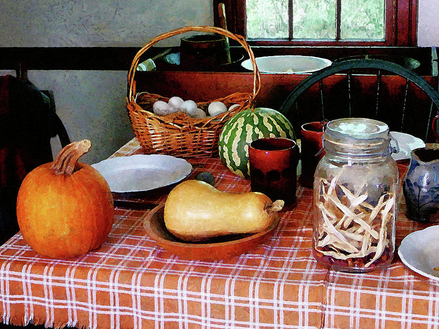 Squash Photograph - Baking A Squash And Pumpkin Pie by Susan Savad