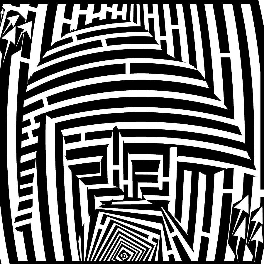 Maze Digital Art - Balancing Cat Maze by Yonatan Frimer Maze Artist