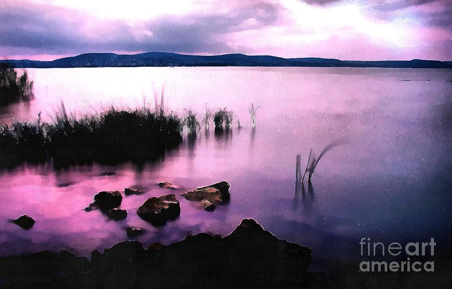 Acrylic Painting - Balaton By Night by Odon Czintos