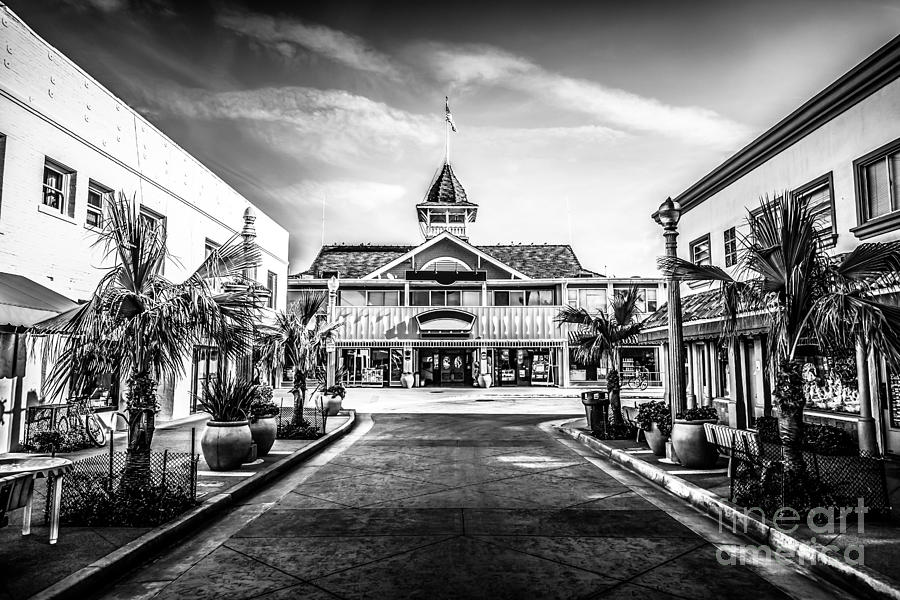 America Photograph - Balboa Pavilion Newport Beach Black And White Picture by Paul Velgos