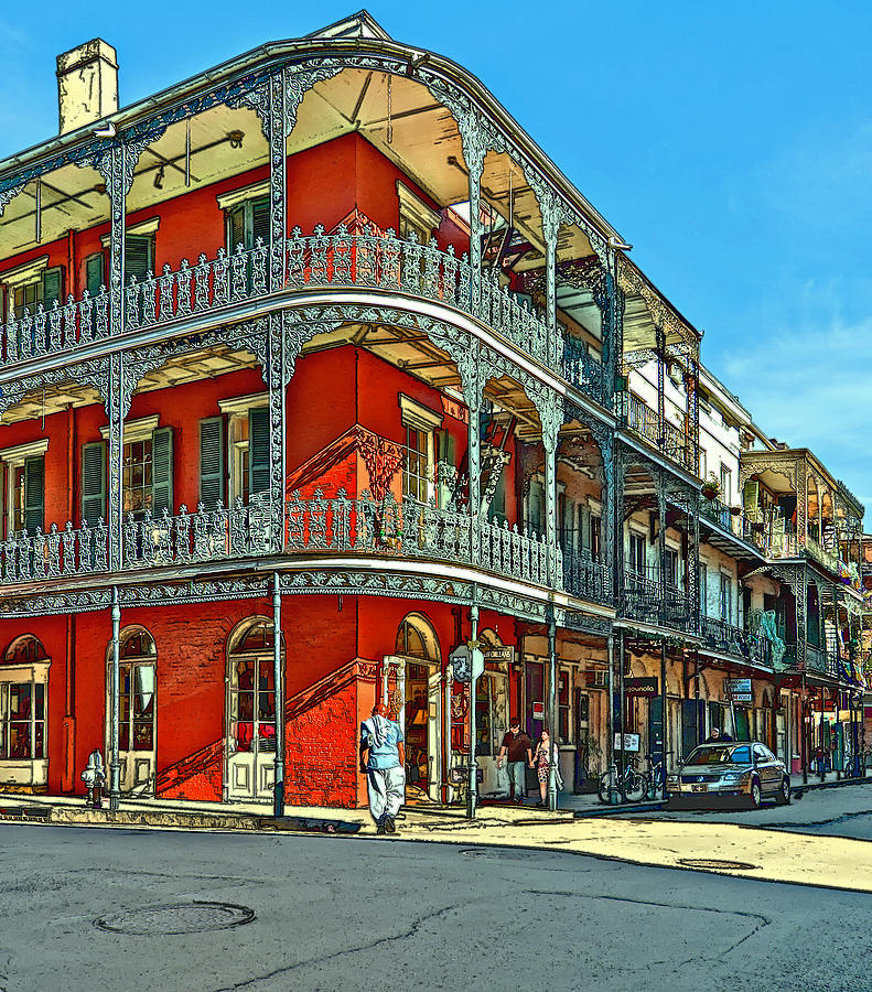 French Quarter Photograph - Balconies Painted by Steve Harrington