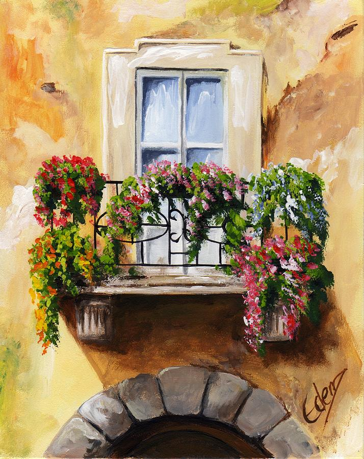 Balcony of parma painting by edit voros for Painting on glass windows with acrylics