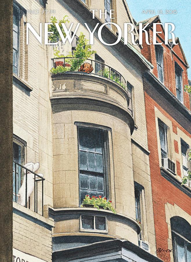 Dog Painting - Balcony Scene by Harry Bliss
