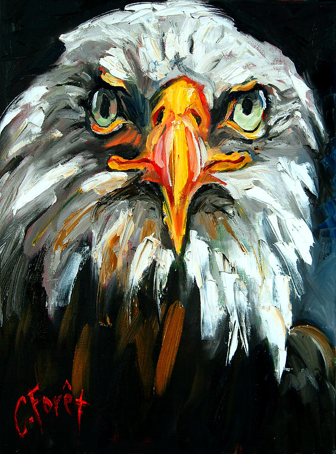 Eagle Painting - Bald And Bold by Carole Foret