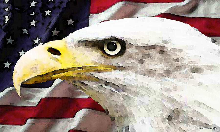 America Painting - Bald Eagle Art - Old Glory - American Flag by Sharon Cummings