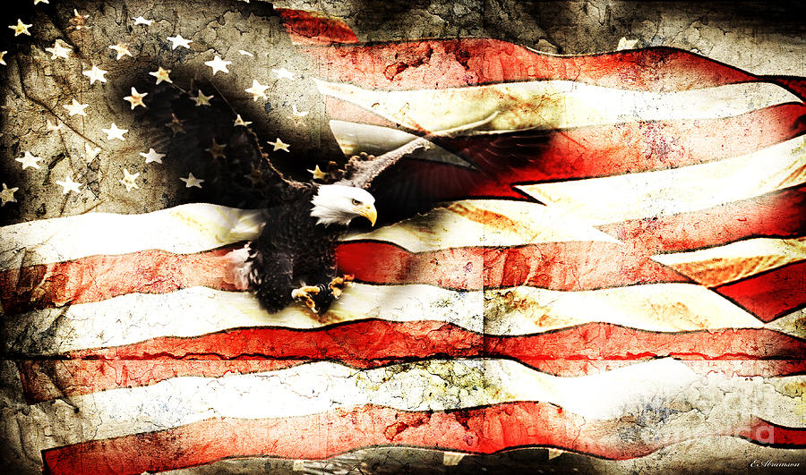 Bald Eagle Bursting Thru Flag Photograph