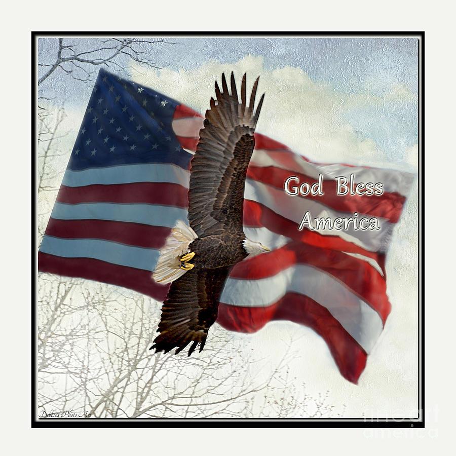 Nature Photograph - Bald Eagle  God Bless America by Debbie Portwood