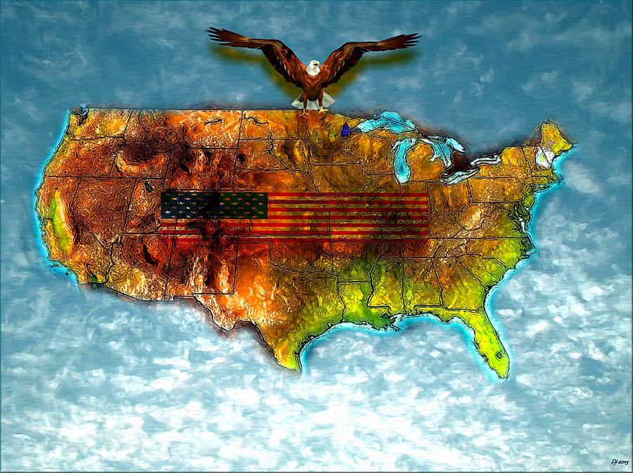 Bald Eagle U.s. Map Painting - Bald Eagle U.s. Map by Daniel Janda