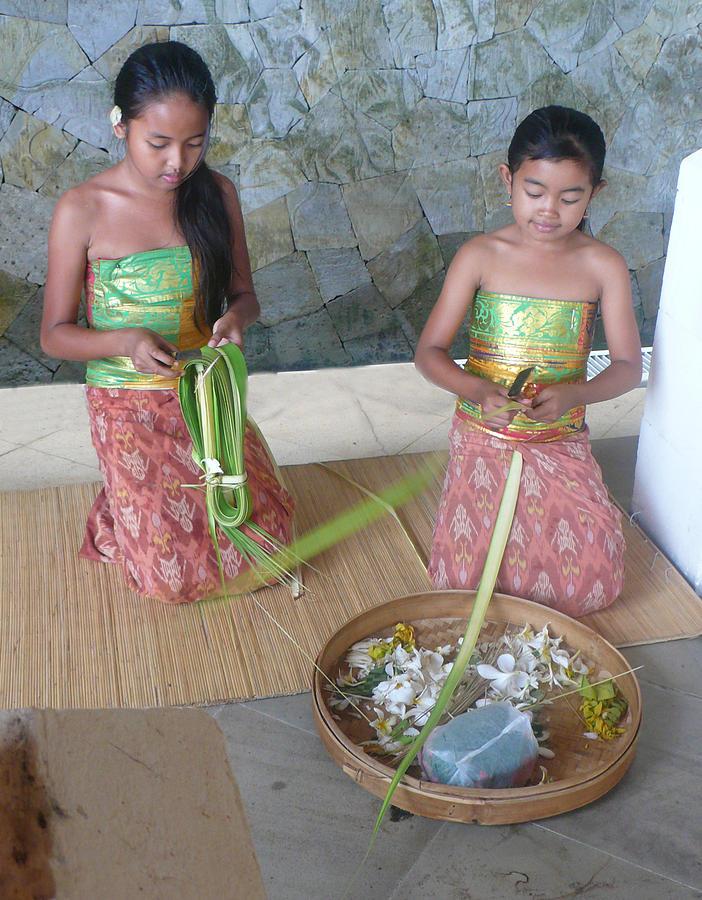 Bali girls weaving  Photograph by Jack Adams