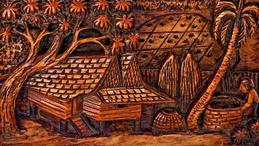 Bali Wood Carving Relief By Steve Harrington