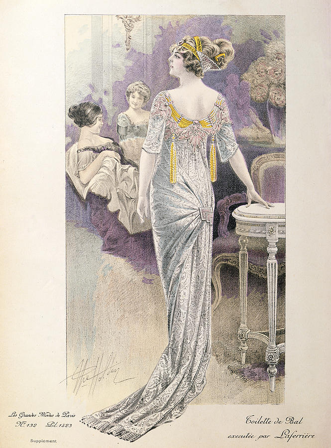 Evening Wear Painting - Ball Gown by French School