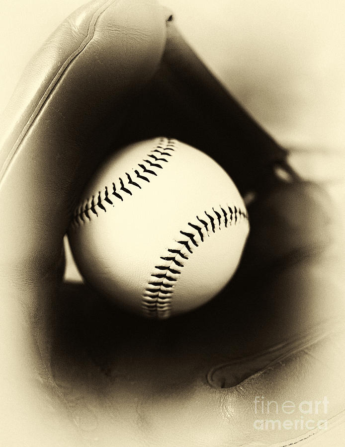 Baseball Photograph - Ball In Glove by John Rizzuto