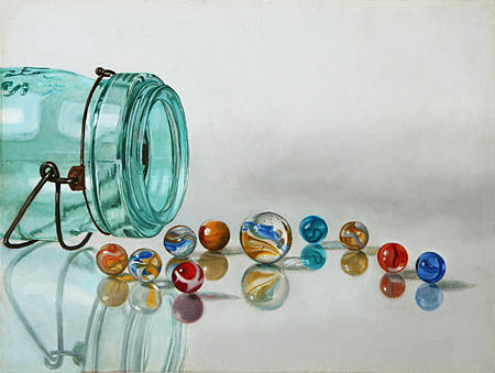 Art Painting - Ball Jar And Marbles Revisited  by K Henderson