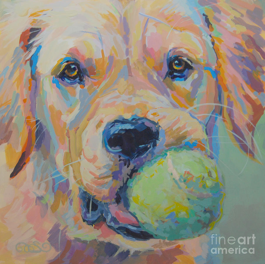 Golden Retriever Painting - Ball by Kimberly Santini