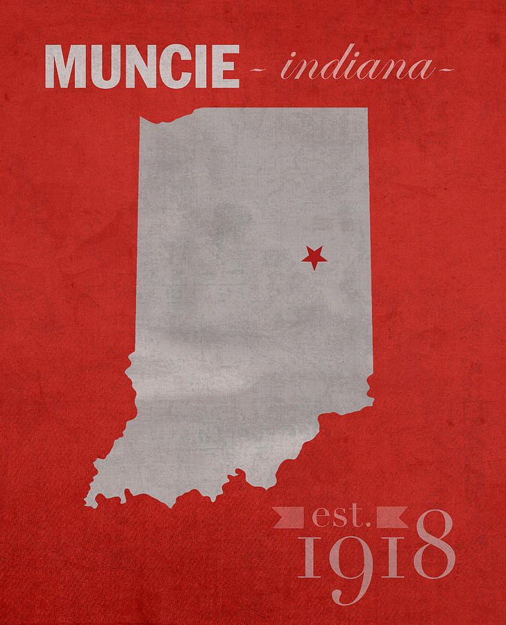 Ball State University Mixed Media - Ball State University Cardinals Muncie Indiana College Town State Map Poster Series No 017 by Design Turnpike