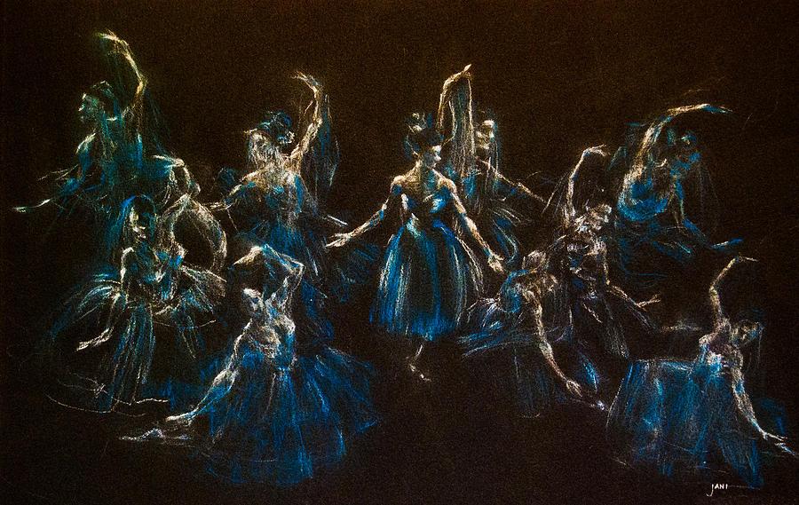 Ballerinas Painting - Ballerina Ghosts by Jani Freimann