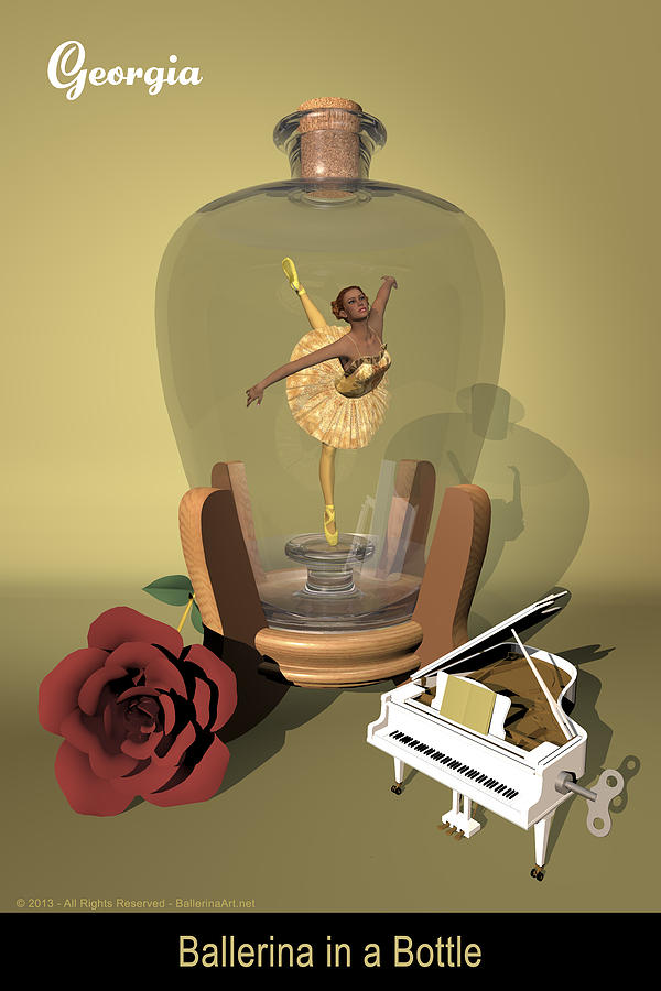 Ballerina Digital Art - Ballerina In A Bottle - Georgia by Alfred Price