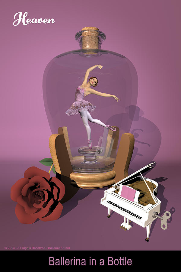 Ballerina Digital Art - Ballerina In A Bottle - Heaven by Alfred Price