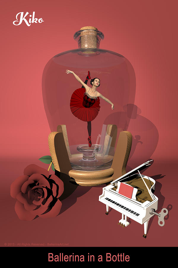 Ballerina Digital Art - Ballerina In A Bottle - Kiko by Andre Price
