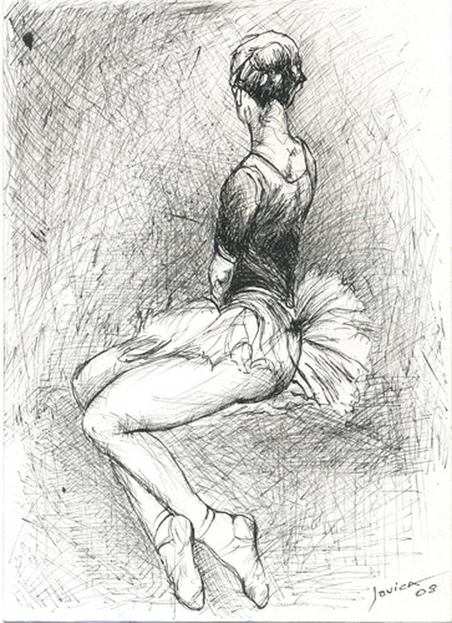 Ballerina Drawing - Ballerina by Jovica Kostic