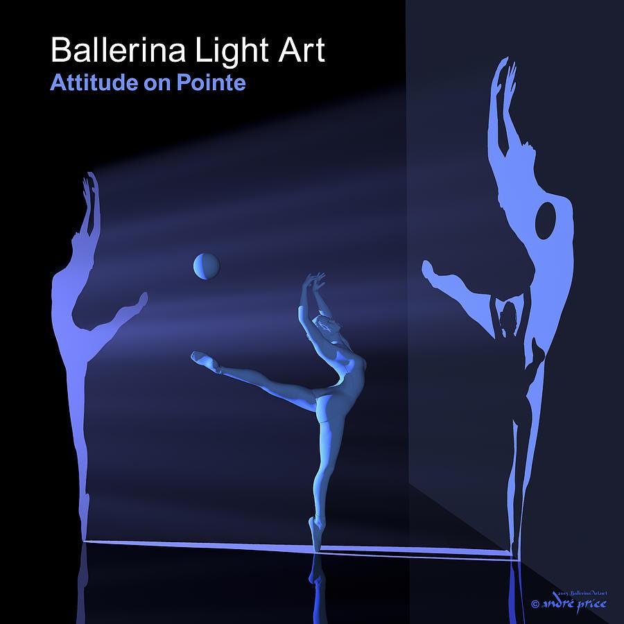 Silhouettes Digital Art - Ballerina Light Art - Blue by Andre Price