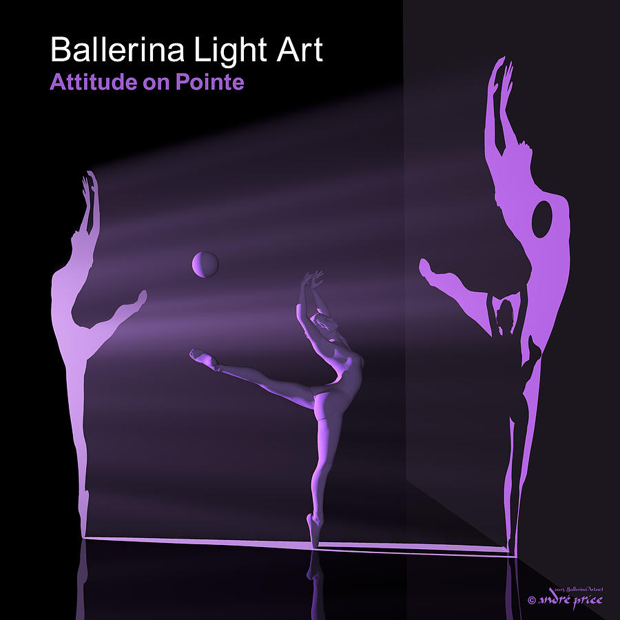 Silhouettes Digital Art - Ballerina Light Art - Purple by Andre Price