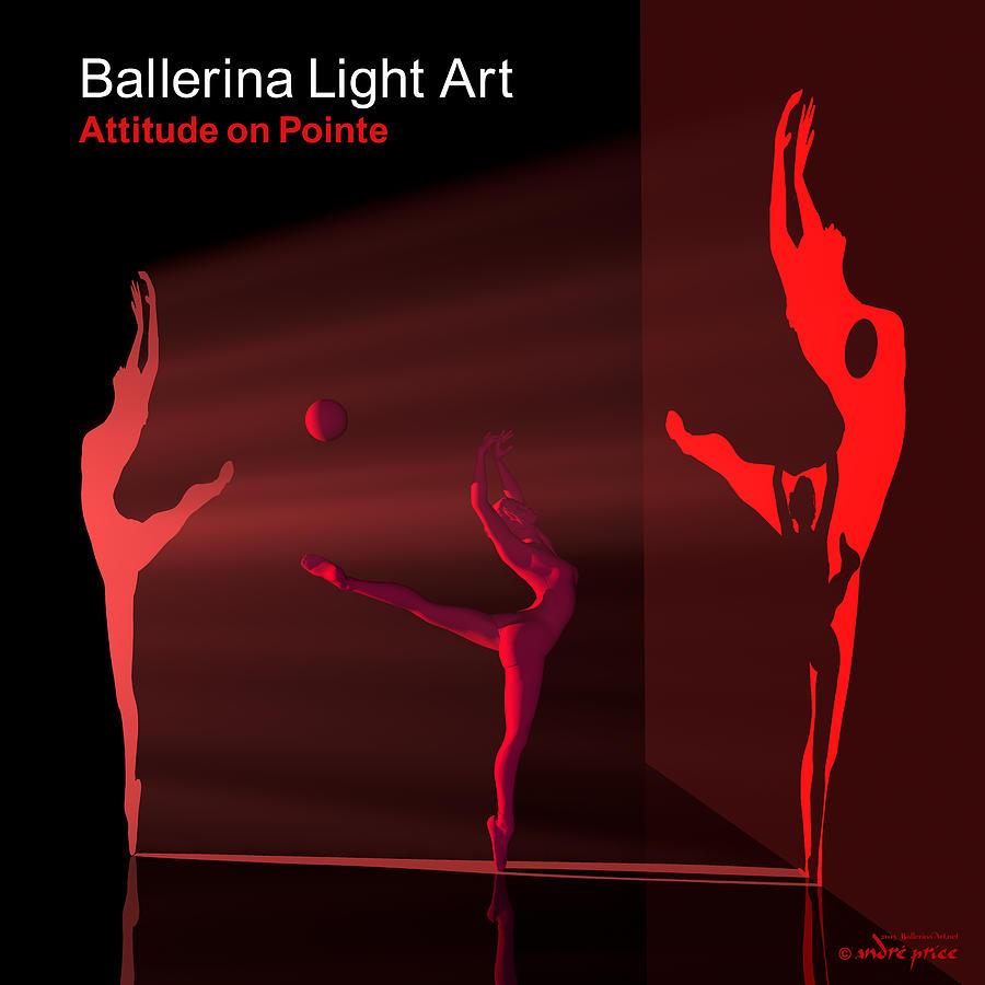 Silhouettes Digital Art - Ballerina Light Art - Red by Andre Price