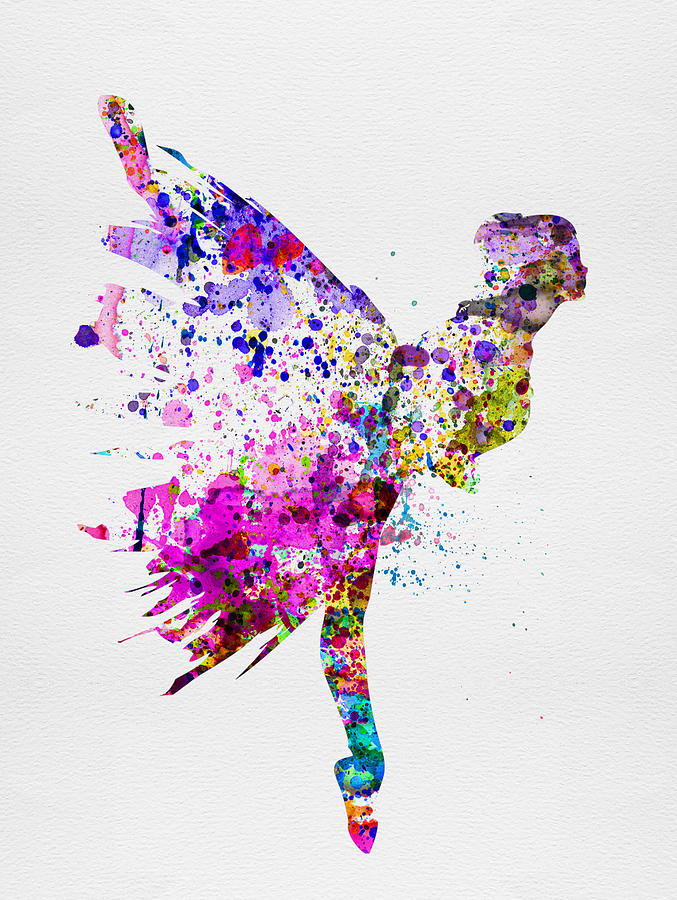 Ballet Painting - Ballerina On Stage Watercolor 3 by Naxart Studio