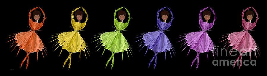 Ballerina Digital Art - Ballerina Rainbow 2 by Andee Design