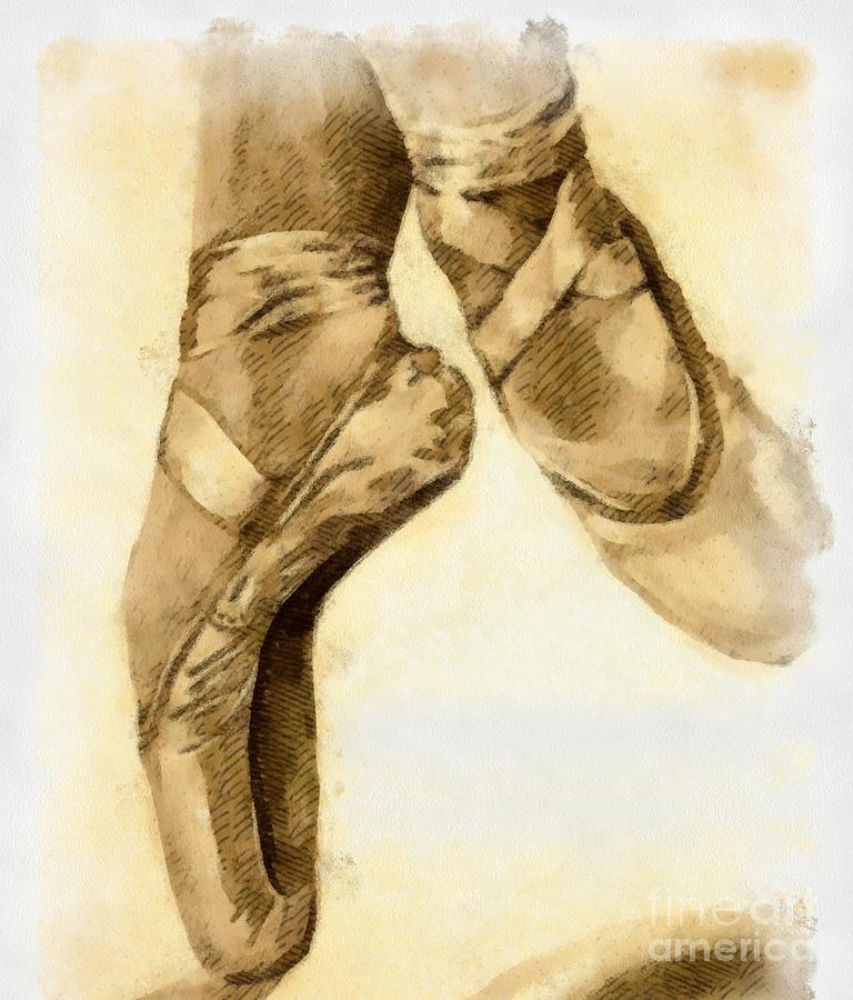 Artwork Mixed Media - Ballerina Shoes by Yanni Theodorou