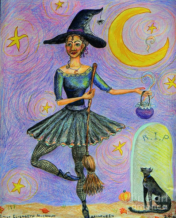 Halloween Drawing - Ballerina Witch by Emily Michaud