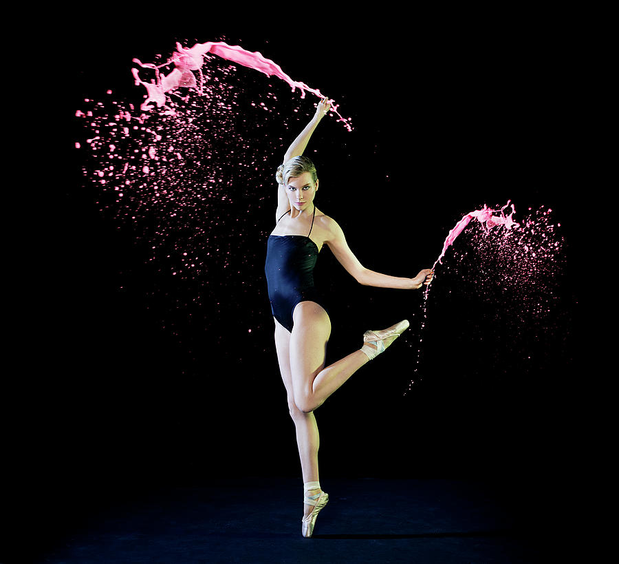 Ballet Dancer Dancing With Pink Paint Photograph by Tara Moore