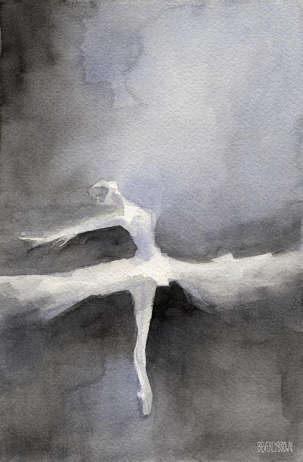 Swan Lake Painting - Ballet Dancer In White Tutu Watercolor Paintings Of Dance by Beverly Brown Prints