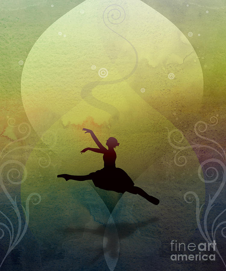 Ballet Digital Art - Ballet In Solitude - Color Verde by Peter Awax